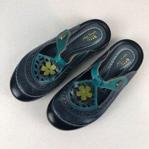 Spring Step Leather Slip On Clogs